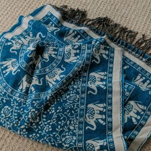 Teal Elephant Print Scarf with Tassels